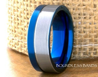 Tungsten Wedding Band Silver Blue Two Tone Personalized Tungsten Band Ring 8mm Mens Women Blue Tungsten Ring Anniversary Promise His Hers