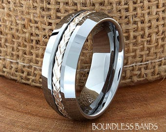 Braided Tungsten Beveled Edges Custom Laser Engraved Tungsten Anniversary Ring Couple Wedding Bands Ring For Him Mens Wedding Ring His Hers