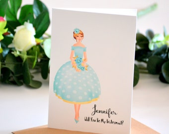 Bridesmaid Greeting Card, Will You Be My Maid of Honour Card, Asking Bridesmaid, Maid of Honour Proposal, Be My Matron Of Honour Invitation