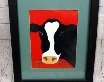"""vtg Holstein Cow Painting Handpainted Painting 19"""" X 23"""" Matted and Framed - Farming - Milk Cows = Farm - Dairy Cows"""