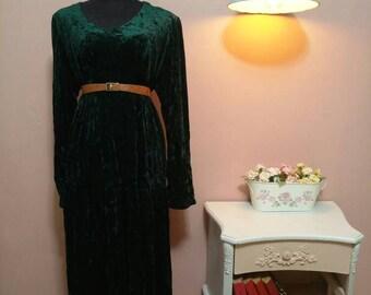 Women's Dress.Vintage Dress.Green Dress. Winter Dress.80'S Dress.80's.Dark Green Glamor Vintage Dress For Women 1980s.Free Shipping.Size OS