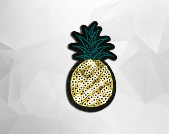 Pineapple Sequin Iron on Patch (M) - Sequin Pineapple, Glitter,Sparkly Applique Iron on Patch - Size 2.6x7.4 cm