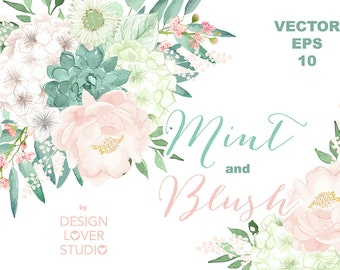 Vector Watercolor Mint and Blush clipart, watercolor flower, Pink Floral Clipart, Leaf clipart,  Wedding Clip Art, wedding invitation, Peony