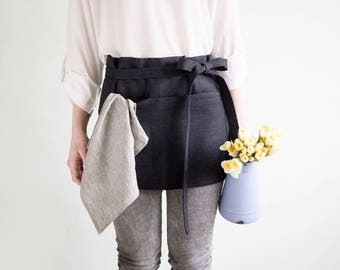 Linen Waist Apron with pockets made of hard linen