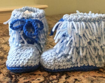 Fringe Baby Booties in Blue