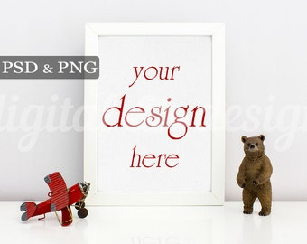 Styled Stock Photography Boy Room Bear Airplane  Vertical Mockup Download Nursery Frame Empty Art Frame Product Digital Background Photo