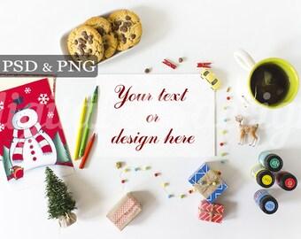 Christmas White Desktop Mockup Styled Stock Photography Letter to Santa Claus Horizontal Book Noel Stock Photo Mockup Christmas Gift