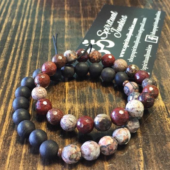 Stack of 2 Stackable Mala Inspired Red Jasper, Leopard Skin Jasper + Black Sandalwood Spiritual Junkies Yoga and Meditation Bracelet