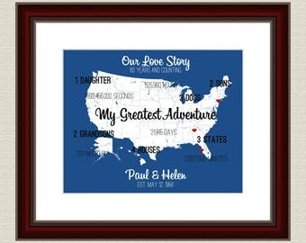 60 Anniversary Gift Cool Anniversary Sign 16x20 Where Our Love Has Traveled Gifts for Anniversary Thoughtful Gift