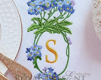 Machine Embroidery Design Blank Monogram Forget-me-not