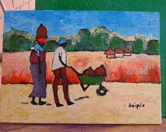 Original artwork, Acrylic Painting, Original painting,Small painting,7 inches by 5 inches,Home Decor,Wall art,African artwork,