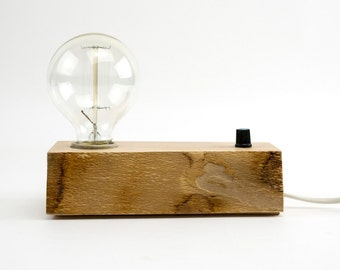 Edison Lamp Handmade Wood Desk Lamp With Vintage Bulb Dimmer Switch