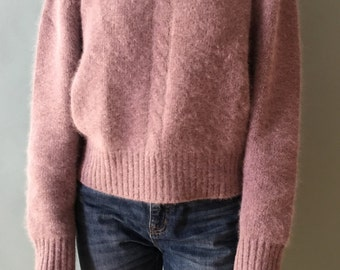 Angora Rabbit Fur and Lambswool Blend Dusty Lavender Pullover s/m