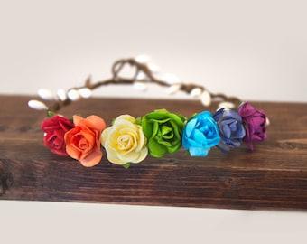 Flower crown, rainbow newborn flower crown, flower girl halo, flower headband, rainbow baby, Floral halo, Flower halo Floral crown