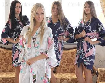 BRIDESMAID ROBE, Bridesmaid Gift, Set of Bridesmaid Robes, Bridesmaid Robes, Bridesmaids Party Robes, Kimono Robe, Wedding Robe, Satin Robes