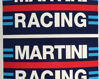 2 Porsche Martini Racing Die Cut Vinyl Decals