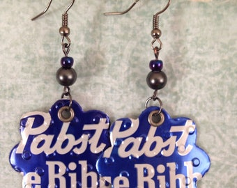 Upcycled Pabst beer can earrings, recycled cans