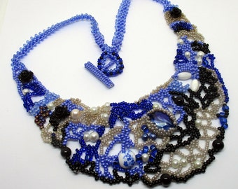 Freeform beaded necklace, beadwork, handmade, Boho necklace, statement necklace, Blue, Choker, gift for her