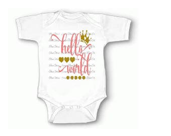 Hello World Coming Home Newborn Baby Girl Outfit Onesie