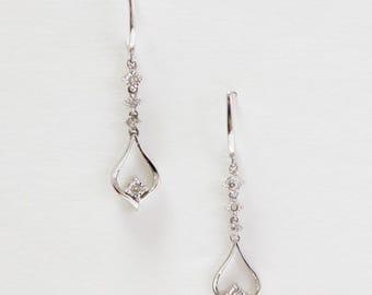 10K White Gold Round Brilliant Cut Diamond Tear Drop Earrings