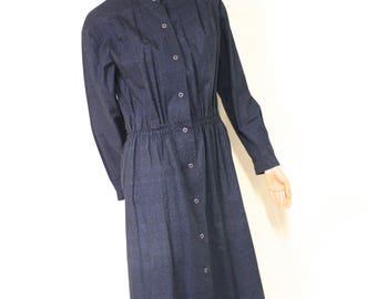 Marimekko 1970's blue cotton long sleeved dress