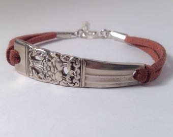 Leather Spoon Bracelet Handmade Silverware Jewelry