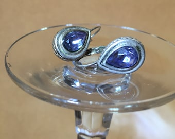 Silver and sky blue earrings