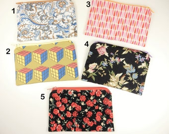 Handmade Coin Purses, Rubix Cube, Floral Fabric, Zip Purses, Upcycled Material, Zippers, Cotton Purse