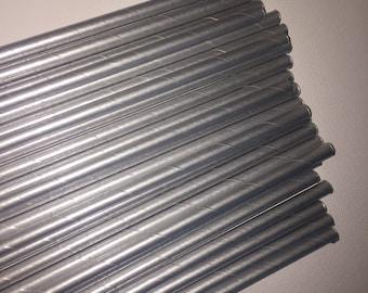 Silver Retro Straws.  Set of 24.