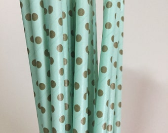 MINT GOLD STRAWS.   Mint green and Gold Polka Dots Retro Straws.  Set of 25.