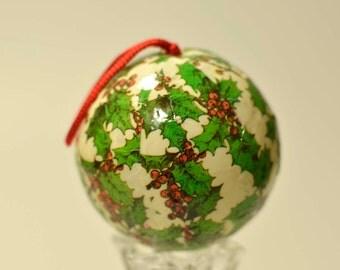 Vintage,Paper mache ball,Paper mache Ornament,Christmas Ornament