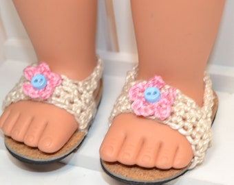 "18"" Doll  Cream Crocheted Sandals"