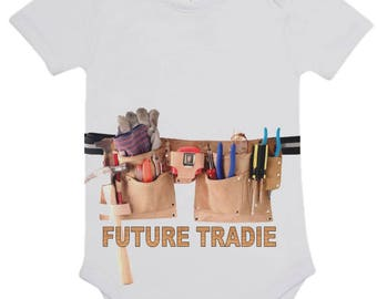 Baby Romper Suit (One piece) printed with Future Tradie on cotton short sleeve romper.