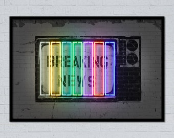 Breaking news street art stencil art neon art neon sign wall art home decor tv art gift for him street art poster grafitti art urban art