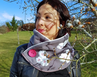 Fleece neck warmer with Cherry blossoms