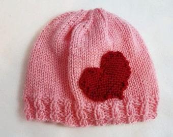 Valentine Hat - Heart Hat - Valentine Beanie - Valentines Day Hat - Hat with Heart - Heart Beanie - Valentine Gift - Valentines Day Gift
