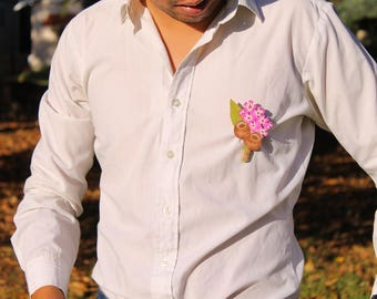 Floral Corsage Pin, Australian Native, Wood Corsage, Groomsman Gift Idea, Scarf Pin, Lapel Flower For Men, Wedding Boutonniere, Gum Blossom