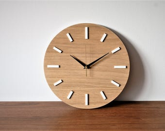 "Wooden clock, 11.9 "" (30 cm), OAK, wall clock, modern clock, natural wood"