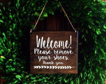 Please remove Shoes Sign |  Remove Shoes Sign | No Shoes Door Signs | 7x8 | Door Hanger | Front Door | Remove Shoes Door Sign | welcome sign