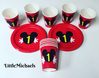 Mickey Mouse Birthday Party Cups and Plates, Mickey Mouse Baby Shower Cups and Plates, Mickey Mouse Clubhouse Tableware