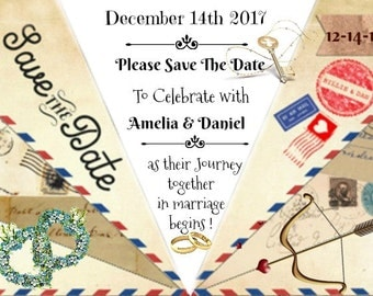 Personalised save the date quirky PAPER PLANE  wedding card-Digital