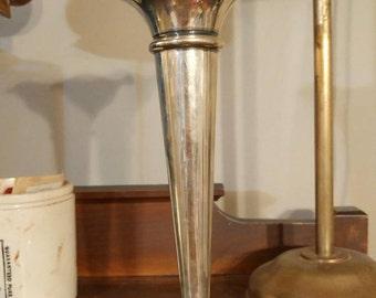 Vintage Silver Plate Fluted Trumpet Vase