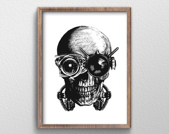 Skull/ Skull Art/ Steampunk/ Steampunk Art/ Skull Decor/ Steampunk Decor/ Skull Wall Art/ Skull Poster/ Steampunk Men Gift/ Skull Gift