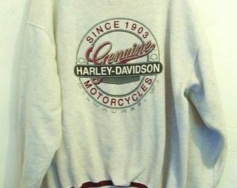 FrEE SHiP@@An AWESOME Vintage 90's Sporty Gray HARLEY DAVIDSON Sweatshirt.xl