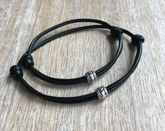 Couples Bracelets, Black Waxed Cord Bracelets, His and hers Bracelets, Tube Bracelets, Matching Bracelets WC001417