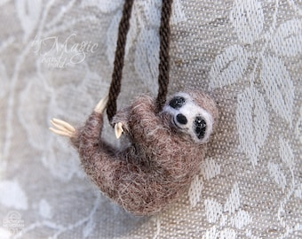 Braided necklace with needle felted sloth, animal jewelry, sloth pendant, wool animal totem, sloth necklace, animal gift, birthday