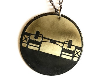 Burnside Bridge Necklace, Made in Oregon, Bridges of Portland, Brass Etched Necklace, Short Chain Necklace, Hand Forged
