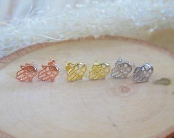 Sterling silver hamsa earring |  simple hamsa earring | Chanukah gift | Bat mitzvah gift | Unique hamsa | Hamsa studs | rose gold hamsa |