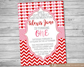 Valentine's Birthday Invitation / Valentine's Birthday Invitation / Girls Birthday / Hearts Pink Red Chevron / Digital File
