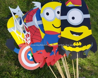 Superhero Centerpieces Birthday Party Decorations Super Hero Minions Characters Figures Batman Captain America Superman
